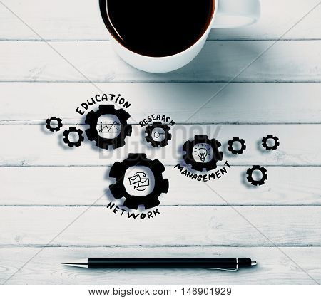 Top view of white wooden desktop with abstract cogwheel sketch coffee mug and pen. Business management concept. 3D Rendering