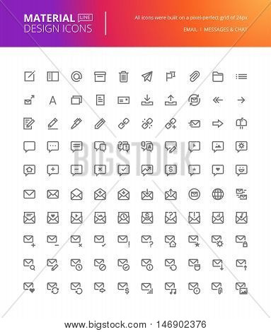 Material design icons set. Thin line pixel perfect icons for contact, communication, networking. Premium quality icons for website and app design.