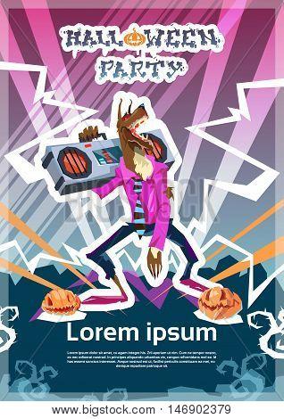 Werewolf Dj Monster Happy Halloween Party Invitation Card Flat Vector Illustration