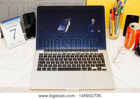 PARIS FRANCE - SEP 8 2016: Apple Computers website on MacBook Retina in room environment showcasing live coverage of Apple Keynote - faster apps thx to new dual-core