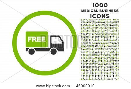 Free Delivery rounded glyph bicolor icon with 1000 medical business icons. Set style is flat pictograms, eco green and gray colors, white background.