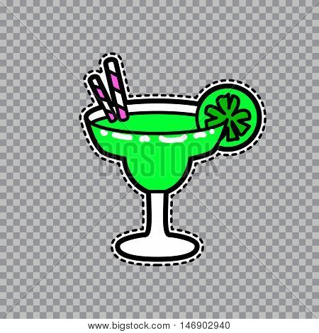 Vector illustration of fashion fun and cute patch sticker with margarita goblet with a slice of lime and straws. Fashion comic wineglass badge in cartoon retro style