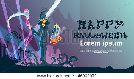 Grim Reaper Hold Scythe Happy Halloween Party Invitation Card Flat Vector Illustration