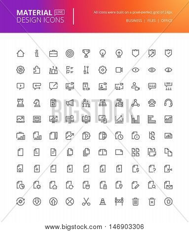 Material design icons set. Thin line pixel perfect icons of basic business essential tools, file management. Premium quality icons for website and app design.