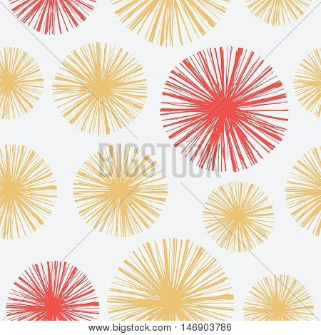 Bright seamless pattern with hand drawn floral. Vector Retro Fall illustration in engraving style for cards, background, wrapping and design.