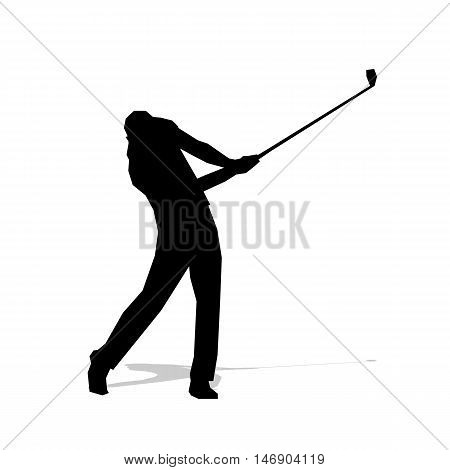 Golf player abstract isolated vector silhouette. Golf swing