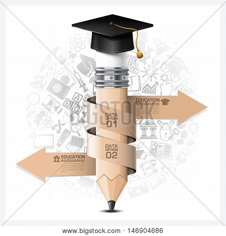 Education And Learning Infographic With Spiral Arrow Pencil Element Vector Design Template