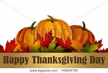 Happy Thanksgiving day background, The vector illustration of pumpkins isolated on white, maple leafs. It is autumn. It is Thanksgiving day.