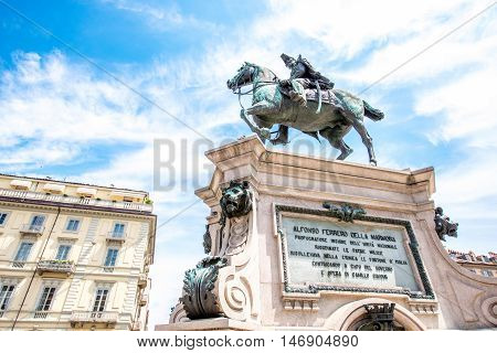 Turin, Italy - June 12, 2016: Alfonso Ferrero La Marmora monument on Bodoni square in Turin city in Piedmont region in Italy.