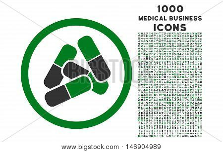 Pills rounded glyph bicolor icon with 1000 medical business icons. Set style is flat pictograms, green and gray colors, white background.