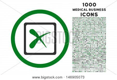Reject rounded glyph bicolor icon with 1000 medical business icons. Set style is flat pictograms, green and gray colors, white background.