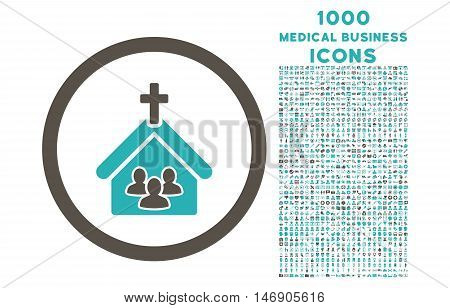 Church rounded glyph bicolor icon with 1000 medical business icons. Set style is flat pictograms, grey and cyan colors, white background.