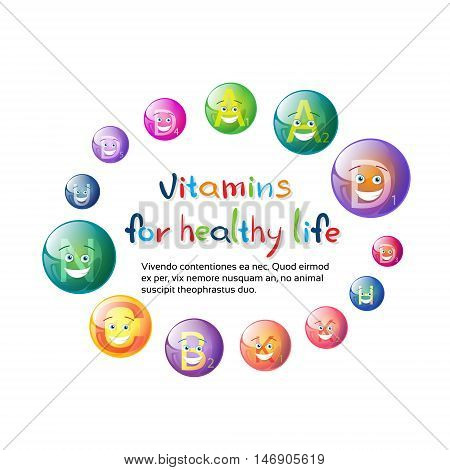 Vitamins Nutrient Minerals Colorful Banner Healthy Life Nutrition Chemistry Element Concept Flat Vector Illustration