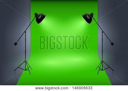 Vector green screen studio interior with spotlights. Empty photo studio professional work, illustration interior studio with lamp and green backdrop