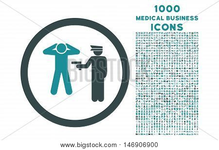 Arrest rounded glyph bicolor icon with 1000 medical business icons. Set style is flat pictograms, soft blue colors, white background.