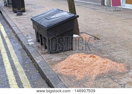 Grit Bin and Salt for Icy Streets at Winter