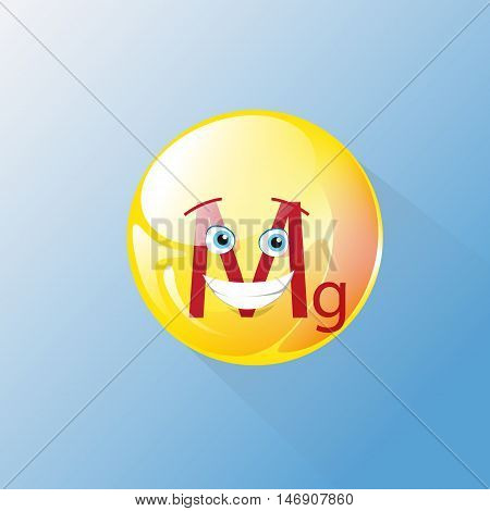Mg Nutrition Chemistry Element Colorful Icon Smile Face Vector Illustration