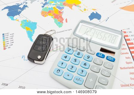 Calculator And Car Keys Over World Map