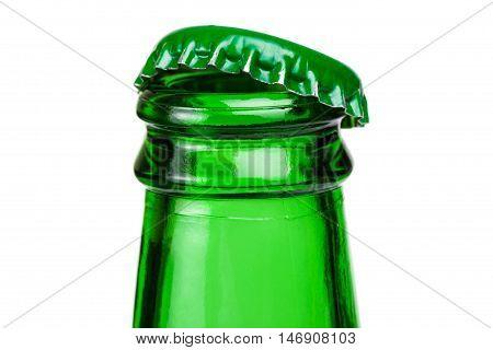 Bottleneck Of Green Beer Bottle Over White Background