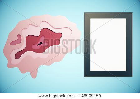 Abstract brain and empty picture frame on blue background. Brainstorming concept. Mock up 3D Rendering