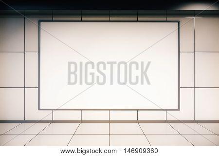 Front view of empty huge billboard in tile interior. Mock up 3D Rendering