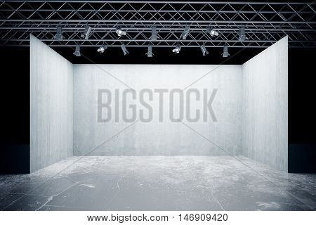 Empty concrete stage with lamps truss system. Mock up 3D Rendering