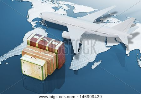 Three suitcases and plane on shiny blue background with abstract map. Travel concept. 3D Rendering