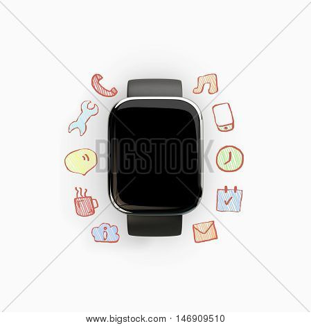 Close up of smart watch with empty screen and communication doodles on light background. Social media concept. 3D Rendering