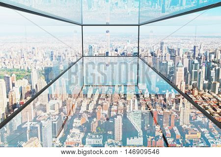 Abstract transparent glass interior with city view. 3D Rendering