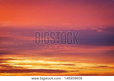 Beautiful fiery red and orange colorful sunset sky.