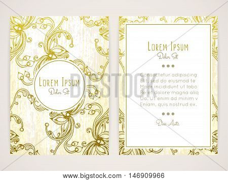 Cover design with hatched floral ornament. Retro style. Brochure flyer invitation or book cover. Size a4. Vector illustration eps10