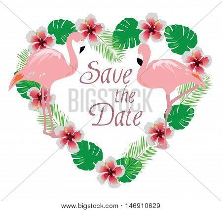 vector illustration of a floral wreath with flamingos wedding concept
