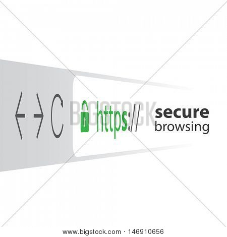 3D Browser Address Bar Showing Https Protocol - Secure Browsing and Connections Trend