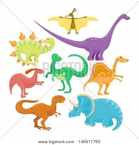 Dinosaur cartoon collection set vector illustration. comic tyrannosaurus fantasy dinosaurs.