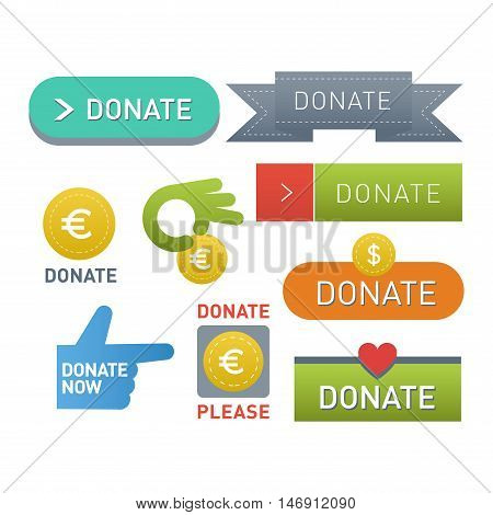 Vector donate concept hand and money set of buttons in flat style. Donation gift charity