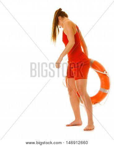 Lifeguard On Duty With Ring Buoy Lifebuoy.