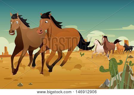 A vector illustration of Wild Horses Running on the Desert