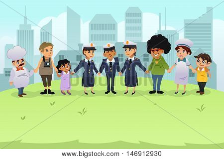 A vector illustration of policeman and policewomen holding hands with regular citizens
