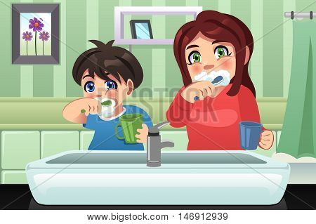 A vector illustration of kids brushing their teeth