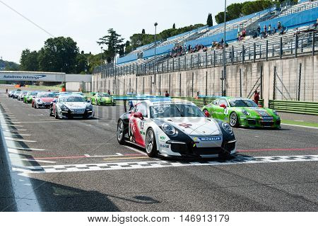 Vallelunga, Rome, Italy. September 10Th 2016. Porsche Carrera Cup, Cars On Starting Line