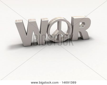 Texto 3D guerra y símbolo de la paz