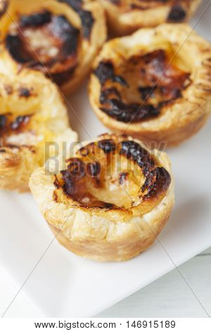 pasteis de nata from portugal on a white plate