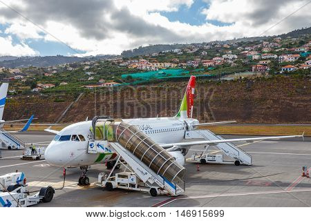 Funchal, Madeira - July 6, 2016: Tap Portugal Airbus A319-111 At Funchal Cristiano Ronaldo Airport,
