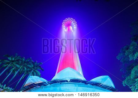 KUALA LUMPUR, MALAYSIA - SEPTEMBER 15, 2015: KL Menara Tower at night. It is the seventh tallest telecommunication tower in the world.