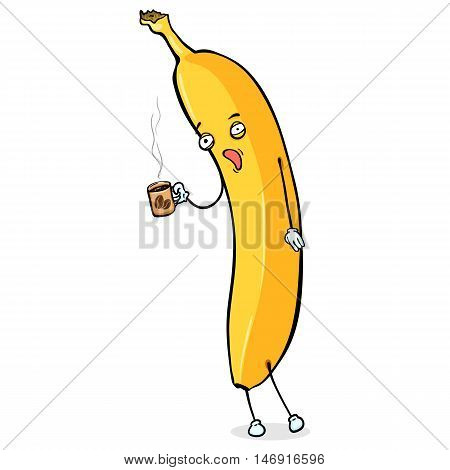 Vector Cartoon Character - Sleepy Banana With Cup Of Coffee
