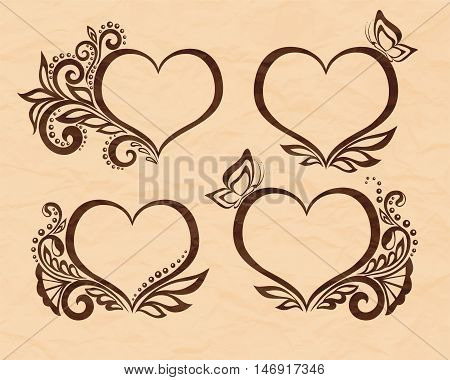 Set of beautiful black-and-white symbol of a heart with floral design and butterfly. Perfect for background greeting cards and invitations to the day of the wedding birthday Valentine's Day