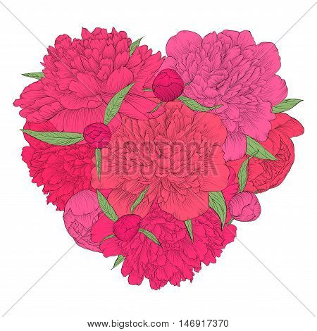 Beautiful heart decorated by flowers peony. Vintage template card invitation greetings valentine. I love you.