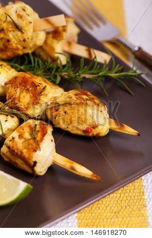 Chicken Kebab or Kabob Skewers. Selective focus.