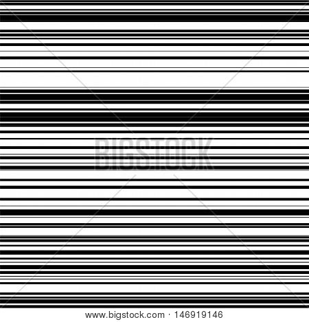 Seamless barcode abstract background with random black horizontal lines for design concepts, posters, banners, web, presentations and prints. Vector illustration.