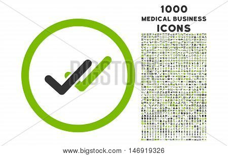 Validation rounded vector bicolor icon with 1000 medical business icons. Set style is flat pictograms, eco green and gray colors, white background.